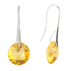 November Birthstone Light Citrine Topaz Crystal Round Sterling Silver Dang...