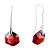 July Red Pentacle Crystal Sterling Silver Earrings