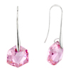 October Pink Pentacle Crystal Sterling Silver Earrings