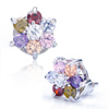 Colorful Crystal Lucky Flower Stud Earrings