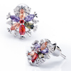 Colorful Crystal Snowflake Flower Stud Earrings