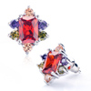 Colorful Crystal With Large Red Crystal Floral Stud Earrings