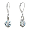 April White Clear Circle Crystal Dangle Sterling Silver Earrings