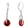 July Red Circle Crystal Dangle Sterling Silver Earrings