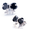 Black Crystal Bowknot Stud Earrings
