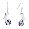 High Heel Shoes With February Birthstone Amethyst Crystal Dangle Earrings