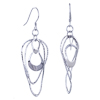 Bend Round Shape Earrings Sterling Silver