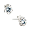 April Birthstone Flower Classic Small Sterling Silver Earrings