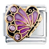 June Pink Alexanderite Color Crystal Butterfly Birthstone Insect Animal Italian Charm