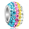 Colored Yellow Pink Bluecrystal Fit All Brands &  Beads Charms Bracelets