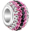 Pink &  Black Crystal Shine Fit All Brands Beads Charms Bracelets