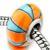 Orange And Pale Blue Stripes Polymer Clay Beads Charms Bracelets