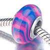 Blue Amethyst And Pink Stripes Murano Glass European Beads