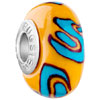 Blue Swirl And Dots Yellow Polymer Clay Beads Charms Bracelets