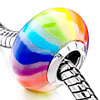 Rainbow Color Stripes Polymer Clay Murano Glass Fit All Brands Beads Charms Bracelets