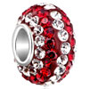 Gorgeous White And Red Crystal Sterling Silver Solid Core Beads Charms Bra...
