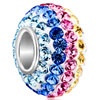Shining Colorful Crystal Sterling Silver Solid Core Beads Charms Bracelets