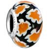 Black With Yellow And Orange Flower Blossoms All Brands Murano Glass Beads...