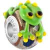 Green Frog With Yellow Murano Glass Beads Charms Bracelets