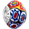Orange With White And Yellow Flower Blue 925  Sterling Silver Murano Glass...