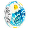 Beautiful Light Blue And White  Flower  925 Sterling Silver Murano  ...