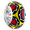 Blue With Yellow Patter White And Red  Flower  925 Sterling Silver  ...
