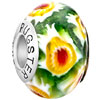 925 Sterling Silver Emerald Green Ball Yellow Sunflower Murano Glass Beads...