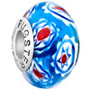 Fresh Blue Sunflower Slim Millefiori Sterling Silver Solid Core Murano Gla...