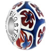 Blue Red Flowerlim 925 Sterling Silver Solid Core Millefiori Fits Murano Glass Beads Charms Bracelets Fit All Brands