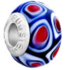 Red Heart With Blue Slim Millefiori 925  Sterling Silver Love Murano Glass...