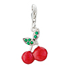 Red Cherry With May Birthstone 925 Sterling Silver Clasp Charms