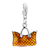 Yellow Bag With Pattern Dangle 925 Sterling Silver Clasp Charms
