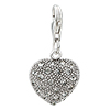 April Birthstone Heart Shape 925 Sterling Silver Clasp Charms