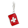 Flag With Cross Pattern 925 Sterling Silver Clasp Charms