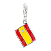 Red And Yellow Flag Dangle 925  Sterling Silver Clasp Charms