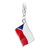 Czech Republic Flag Dangle 925 Sterling Silver Clasp Charms