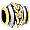 22K Whirl Wheel Spacer Two Tone Plated Beads Charms Bracelets