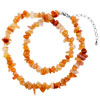 Fleshcolor Semi Precious Nugget Chips Stone Stretch Necklace Pendant