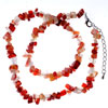 Genuine Coral Light Red Semi Precious Gemstone Nugget Chips Stretch Neckla...