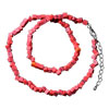 Genuine Coral Red Semi Precious Gemstone Nugget Chips Stretch Necklace For...