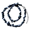 Classic Black Genuine Semi Precious Gemstone Onyx Nugget Chips Stretch Nec...