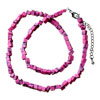 Rosy Pink Semi Precious Nugget Chips Stone Stretch Necklace  ...