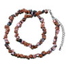 Dark Brown Semi Precious Nugget Chips Brown Stone Stretch Necklace Pendant
