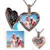 Copper Tone Heart Love Customer  Photo  Flowers  Pendant  Necklace 18