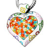 Murano Glass Millefiori Multi Color Heart With Pattern Pendant