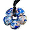 Silver Foil Murano Glass Peach Blossom With Blue Pattern Pendants