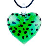 Green Murano Glass Heart With Black Dots Pendants