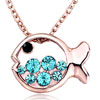 18K Gold Plated Mar Birthstone Aquamarine Blue Crystal Rose Gold Fish Pend...