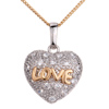 18 K Gold Plated  Silver Tone  Clear White Crystal Heart Love  ...