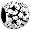 Round Shaped Tender Flowers Silver Plated Beads Charms Bracelets